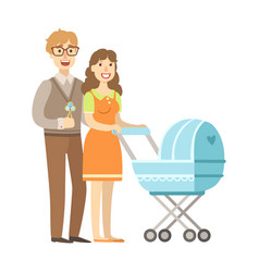 Young parents walking with a stroller vector