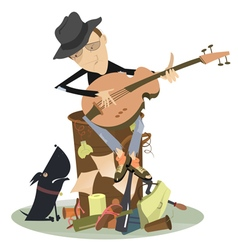 Sad blues or jazz man plays guitar vector