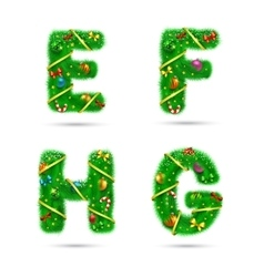 Fir tree font letters vector image