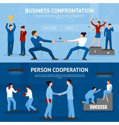Constructive business confrontation flat banners vector