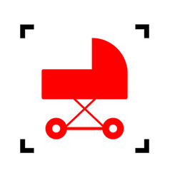 Pram sign   red icon inside vector