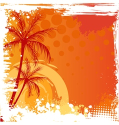 Grunge backgound with palm trees vector
