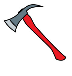 Firefighters axe with red handle vector