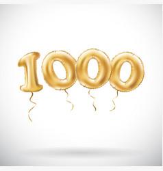 Golden number 1000 one thousand metallic balloon vector
