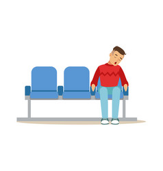 Exhausted man sleeping in the chair at airport or vector