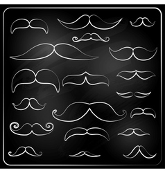 Set of moustaches drawn with chalk vector