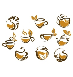 Set of herbal tea icons vector