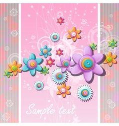 Abstract background with flowers and buttons vector