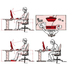 Ergonomic of computer workplace vector