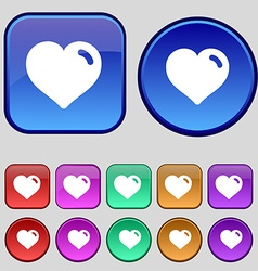Heart love icon sign a set of twelve vintage vector