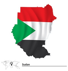 Map of sudan with flag vector