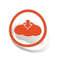 Cloud download sign sticker orange vector