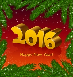New year 2016 and fir tree frame vector