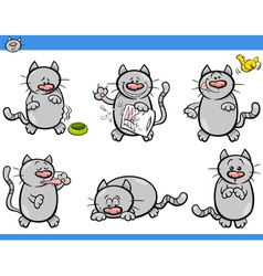 Cartoon cat characters set vector