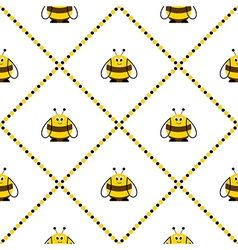 Pattern with cute comic bees vector
