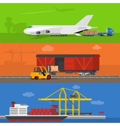 Freight logistics and transportation banners vector