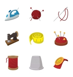 Accessories for sewing workshop icons set vector