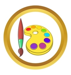 Art palette with paints and brush icon vector