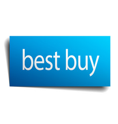 Best buy blue square isolated paper sign on white vector