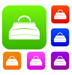 carpetbag set color collection vector image vector image