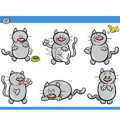 Cartoon cat characters set vector