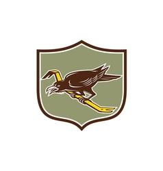 Crow perching crowbar crest retro vector