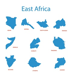 East africa - maps of territories vector
