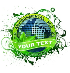 environmental label with globe vector image vector image