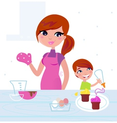 family cooking vector image vector image