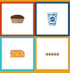 Flat icon eating set of cheddar slice yogurt vector