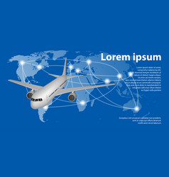 flying airplane on world map with trace line vector image