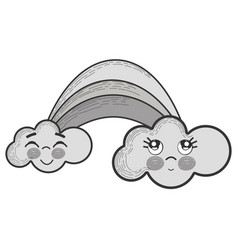 Grayscale kawaii rainbow with clouds with faces vector