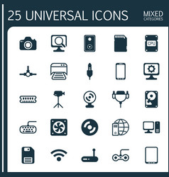 Hardware icons set collection of desktop computer vector