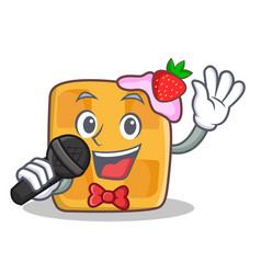 Karaoke waffle character cartoon design vector