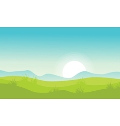 Landscape with hill at morning vector