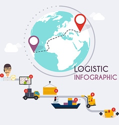 Logistic infographics Set of flat warehouse icons vector image vector image