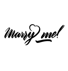 Marry me lettering handwritten isolated on white vector