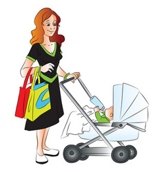 mother holding shopping bags and pushing her baby vector image vector image