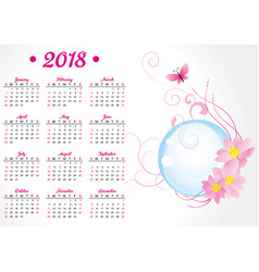 Pink butterfly and flowers 2018 year calendar vector