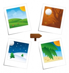 Polaroid seasons vector image vector image
