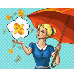 pop art lady with umbrella under money rain vector image vector image