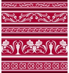 Set of seamless borders in the eastern style of vector image vector image
