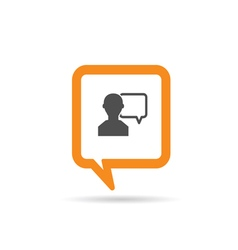 square orange speech bubble with man two vector image vector image