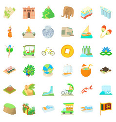 Tourist attraction icons set cartoon style vector