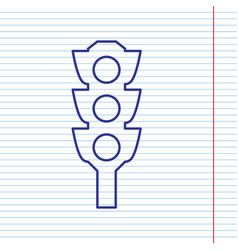 Traffic light sign navy line icon on vector