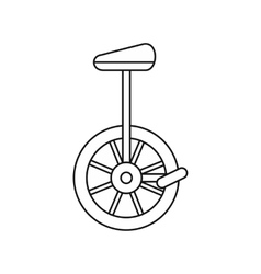 Unicycle one wheel bicycle icon outline style vector image