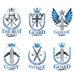 Vintage weapon emblems set vintage design vector