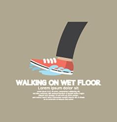Walking on wet floor vector