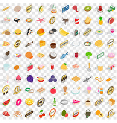 100 lunch icons set isometric 3d style vector