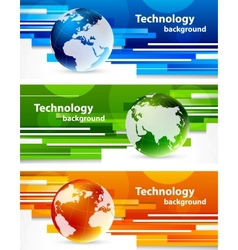 Set of banners with globes vector image